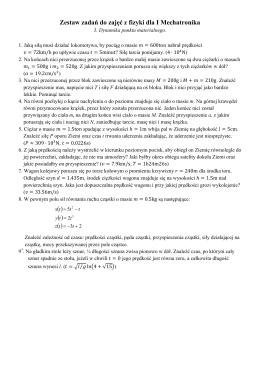 Zestaw zadań do zajęć z fizyki dla I Mechatronika