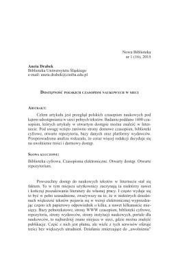 Aneta Drabek: Dostępność polskich czasopism naukowych w sieci…
