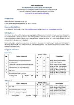Kierownik studium - Wydział Elektroniki i Telekomunikacji