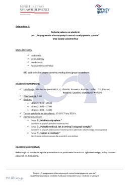 Kryteria naboru i zasady uczestnictwa