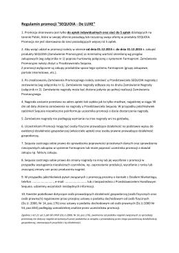 Regulamin promocji DE LUXE