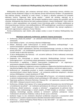 Informacja o działalności Wielkopolskiej Izby Rolniczej w latach