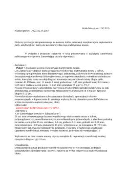 Numer sprawy: DTZ.382.14.2015 Dotyczy: przetargu
