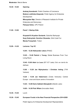 Young & Innovative Forum 2015 Programme