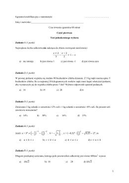 Egzamin kwalifikacyjny z matematyki 2014
