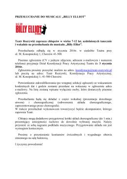 """PRZESŁUCHANIE DO MUSICALU """"BILLY ELLIOT"""" Teatr Rozrywki"""