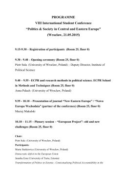 "PROGRAMME VIII International Student Conference ""Politics"