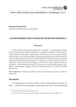 kUltUra organIzaCyjna a dojrzałość Projektowa organIzaCjI