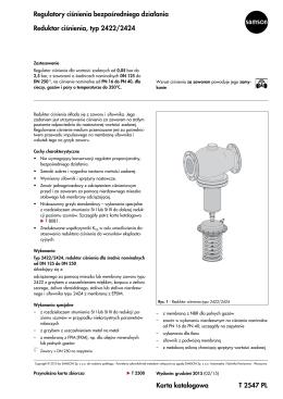 Karta katalogowa T 2547 PL Regulatory ciśnienia