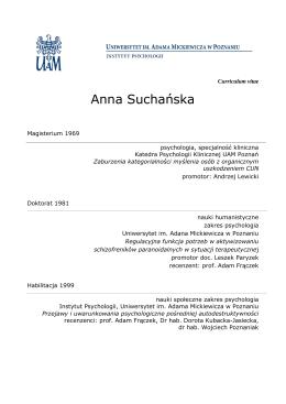 Anna Suchańska - Instytut Psychologii