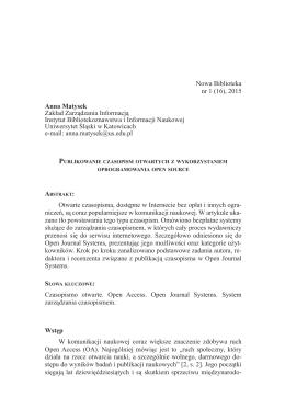 Anna Matysek: Publikowanie czasopism otwartych z