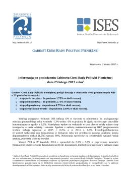 Informacja po posiedzeniu Gabinetu Cieni RPP – marzec 2015