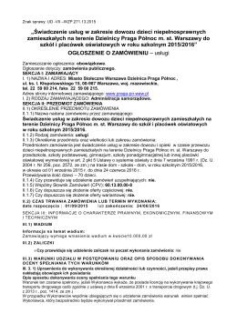 Ogłoszenie o zamówieniu - Urząd Dzielnicy Praga Północ