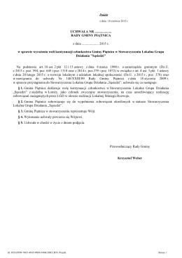 w sprawie wyrażenia woli kontynuacji członkostwa Gminy Piątnica w