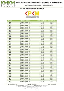 Wykaz autobusów KPKM - Klub Miłośników Komunikacji Miejskiej w