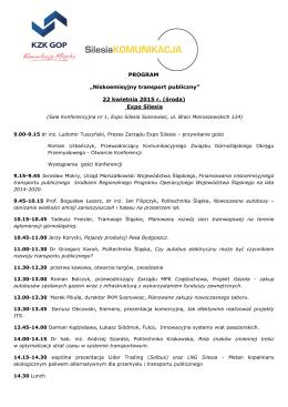 """PROGRAM """"Niskoemisyjny transport publiczny"""" 22 kwietnia 2015 r"""