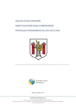 analiza stanu finansów gminy sulechów wraz z określeniem