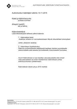 Auktorisoidun kääntäjän tutkinto 14.11.2015 Kielet
