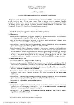 Uchwała nr XIV/97/2015 w sprawie określenia stawek podatku od