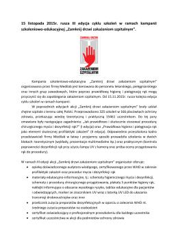 15 listopada 2015r. rusza III edycja cyklu szkoleń w ramach