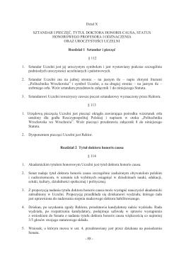 - 88 - Dział X SZTANDAR I PIECZĘĆ, TYTUŁ DOKTORA HONORIS