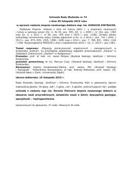 Uchwała Rady Wydziału w sprawie nadania stopnia naukowego