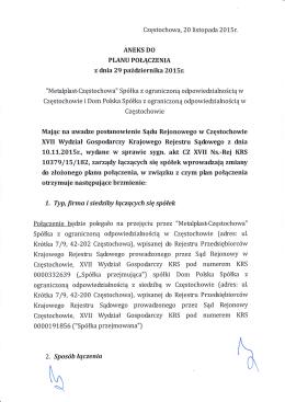 ANEKS DO PLANU POŁĄCZENIA z dnia 29 października 2015r.