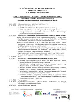 Program IV Ogólnopolskiego Zlotu Asystentów Rodziny