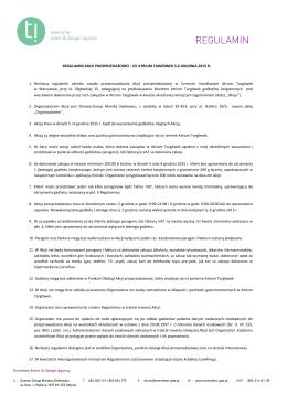 CH ATRIUM TARGÓWEK 5-6 GRUDNIA 2015 R. 1. Niniejszy