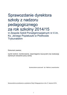 1-Sprawozdanie z nadzoru pedagogicznego 2014- 15