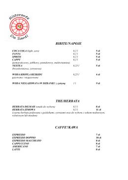 BIBITE/NAPOJE THE/HERBATA CAFFE`/KAWA