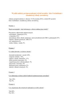 Wyniki ankiety przeprowadzonej wśród uczniów klas I technikum i