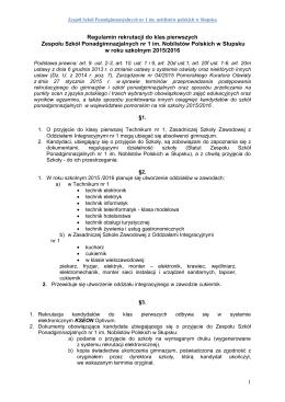 Regulamin rekrutacji 2015 - Zespół Szkół Ponadgimnazjalnych nr 1