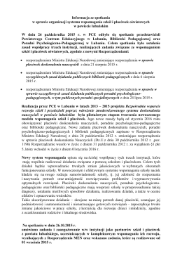 Informacja ze spotkania w sprawie organizacji systemu