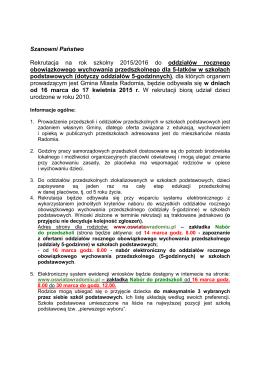 Zasady rekrutacji - NABÓR 2015 zmieniony op