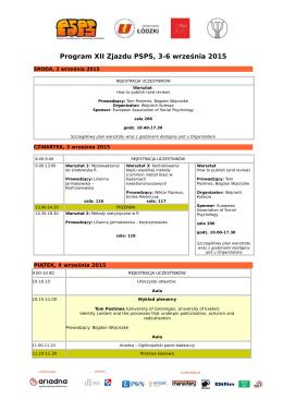Szczegółowy program XII Zjazdu PSPS