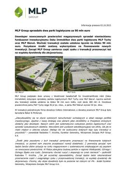 MLP Group sprzedało dwa parki logistyczne za 90 mln euro
