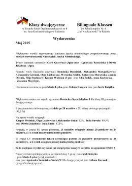 Klasy dwujęzyczne, maj-czerwiec 2015