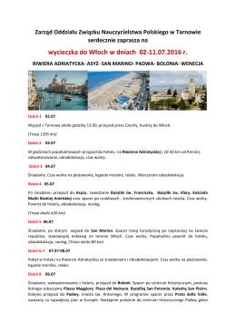 wycieczka do Włoch w dniach 02-11.07.2016 r.
