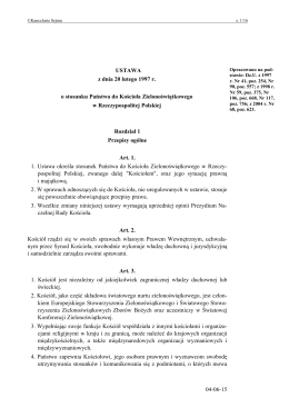 Ustawa z dnia 20 lutego 1997 r. o stosunku Państwa do Kościoła