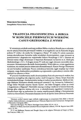 tradycja filozoficzna a biblia w kościele pierwszych wieków. casus