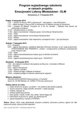 2015 Program szkolenia wyjazdowego ELM