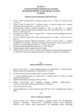 Statut - I Liceum Ogólnokształcące w Piszu