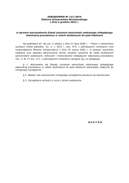 ZARZĄDZENIE Nr 121/2015 Rektora Uniwersytetu Wrocławskiego z