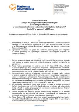 Uchwała Nr 11/2015 Zarządu Krajowego Platformy Obywatelskiej