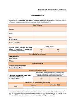 Załącznik nr 1. Wzór formularza ofertowego