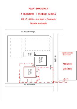 plan ewakuacji z budynku i terenu szkoły