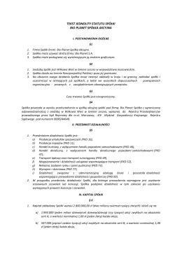 tekst jednolity statutu spółki bio planet spółka akcyjna