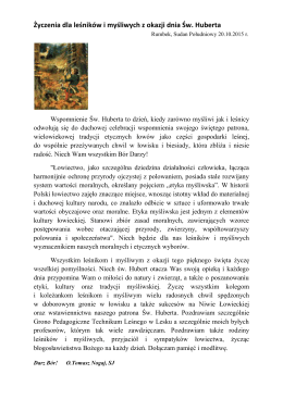 Życzenia dla leśników i myśliwych z okazji dnia Św. Huberta