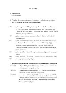 autoreferat - Wydział Lekarski Kształcenia Podyplomowego